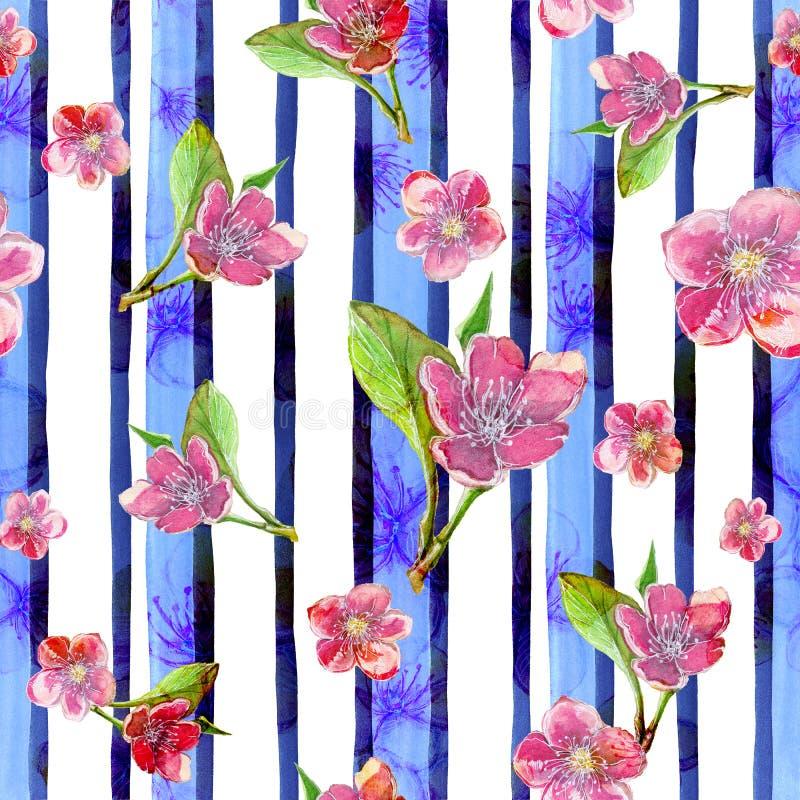 De waterverf die naadloos patroon trekken op het thema van de lente, vrouwelijke dag, de zomer, sakura bloeit tegen de achtergron royalty-vrije illustratie