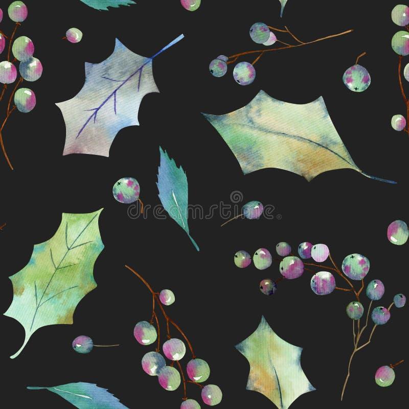 De waterverf gaat en vertakt zich van de boom naadloos patroon van de Kerstmishulst weg stock illustratie