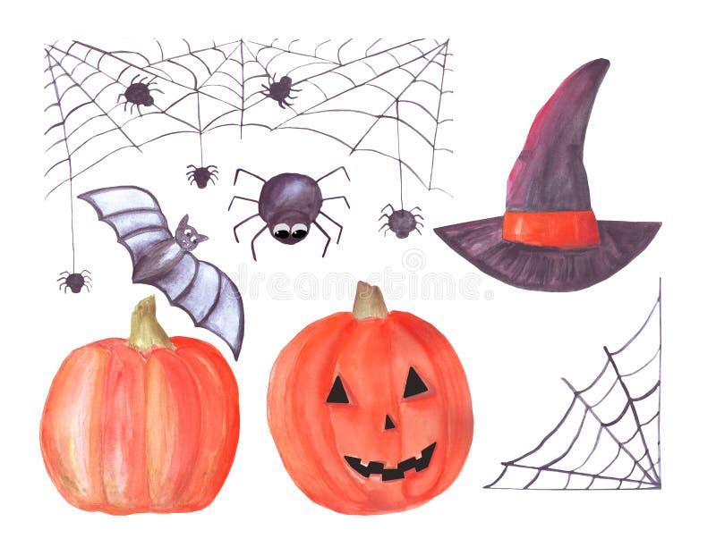 De waterverf Halloween plaatste met spiderweb, spinnen, pompoenen, heksenhoed, knuppel Een reeks punten Ge?soleerdj op witte acht royalty-vrije illustratie