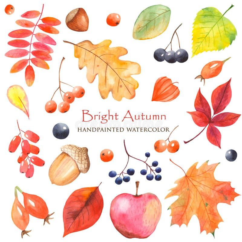 De waterverf Heldere Herfst met kleurrijke bladeren royalty-vrije illustratie