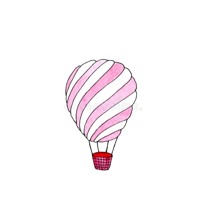 De waterverf isoleerde hete luchtballon royalty-vrije illustratie