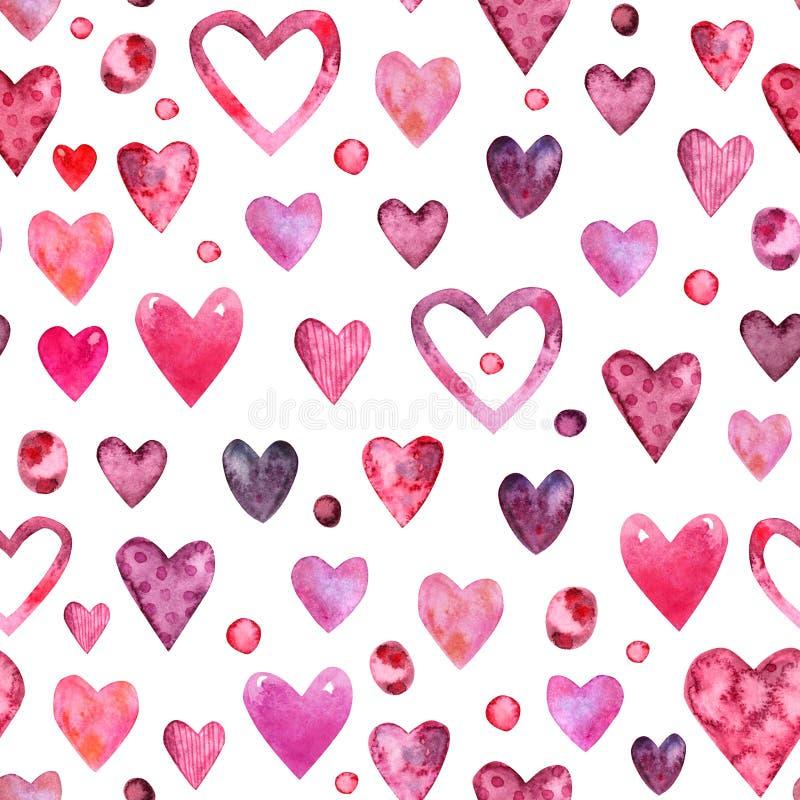 De waterverf naadloos patroon van de valentijnskaartendag stock illustratie