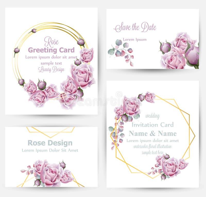 De waterverf nam bloemenkaarten geplaatst inzamelingsvector toe De uitstekende groet of het adreskaartje, huwelijksuitnodiging, d vector illustratie