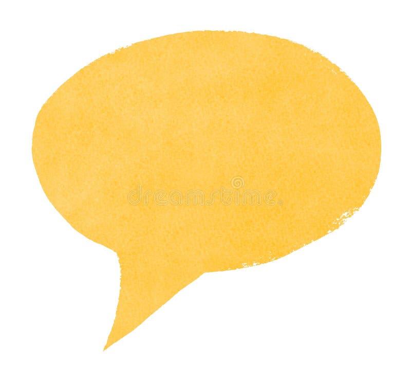 De waterverf schilderde Gele Toespraakbel stock afbeelding