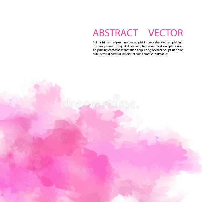 De waterverf schilderde lichtrose achtergrond met witte ruimte voor tekst vector illustratie