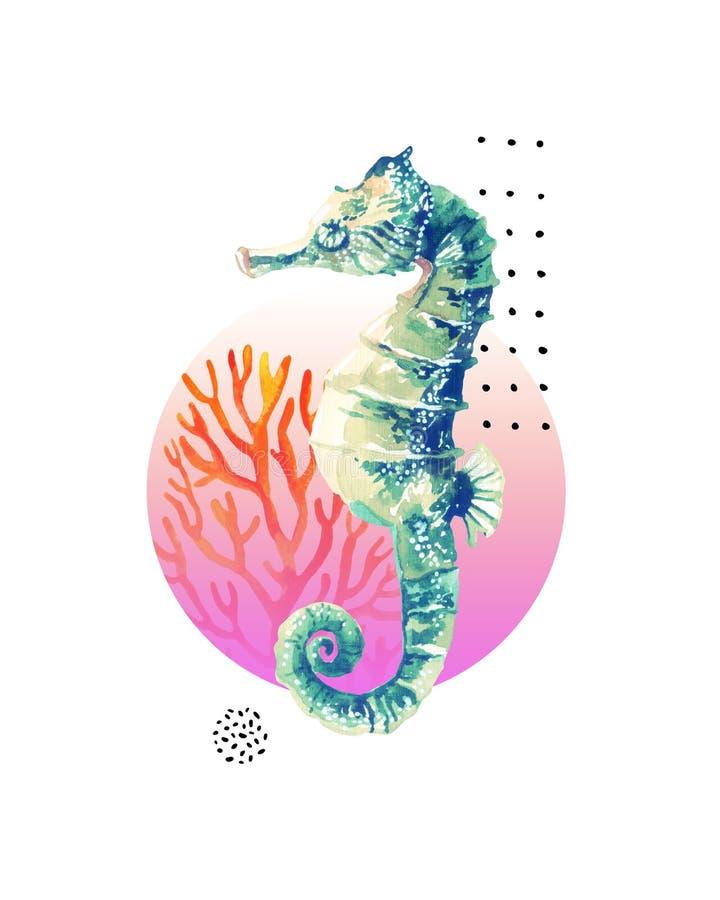 De waterverf seahorse, koraalrif in gradiënt kleurde cirkel met krabbelelementen op witte achtergrond worden geïsoleerd die stock illustratie