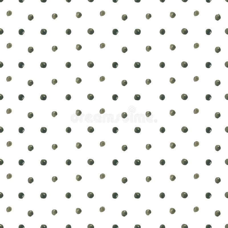 De waterverf stippelt naadloos patroon op wit stock illustratie