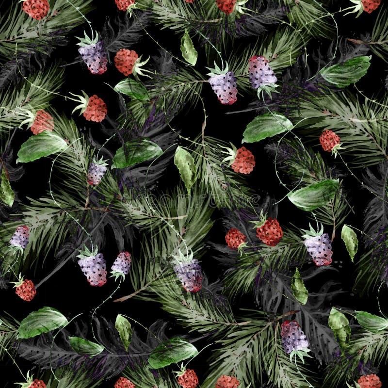De waterverf, uitstekend, naadloos patroon in braambessen, frambozen, pijnboom vertakt zich, spar, naalden vector illustratie