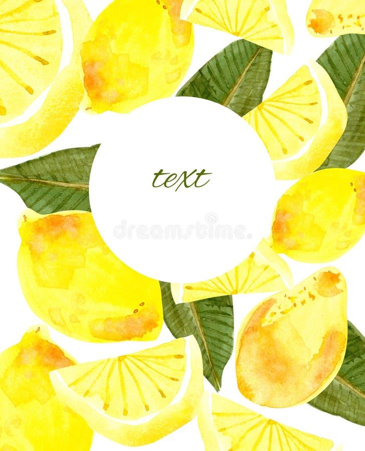 De waterverf van de citroenbanner, embleem vector illustratie