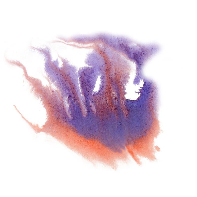 De waterverf van de de kleureninkt van de verfplons isoleert kalkslag ploetert watercolour Rode Blauwe aquarelborstel vector illustratie