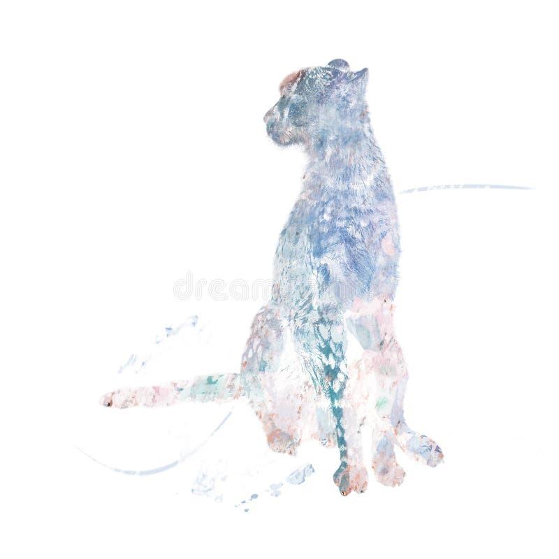 De waterverf van de jachtluipaardzitting royalty-vrije illustratie