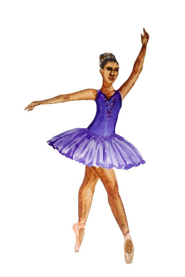 De waterverf van het ballerina dansende die meisje het schilderen illustratie op witte achtergrond Afrikaanse Europese Chinees wo royalty-vrije illustratie