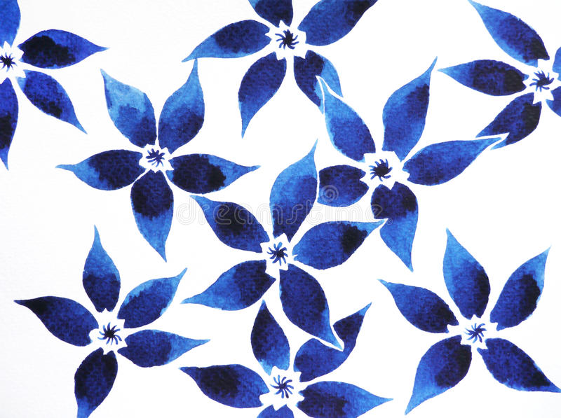 De waterverf van het bloem bloemen minimale patroon het schilderen getrokken hand stock illustratie