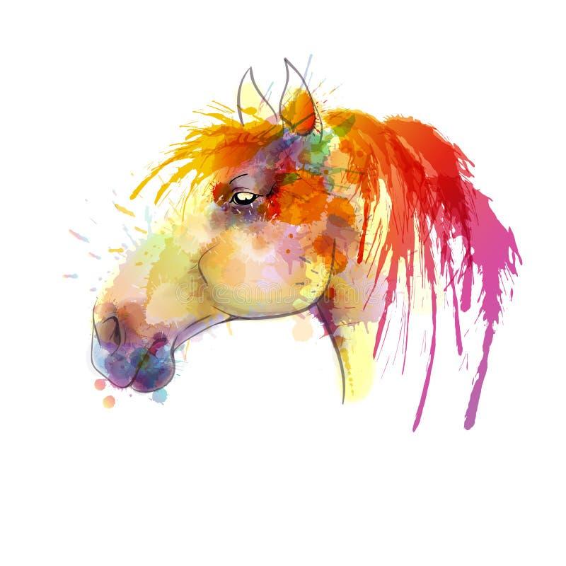 De waterverf van het paardhoofd het schilderen vector illustratie