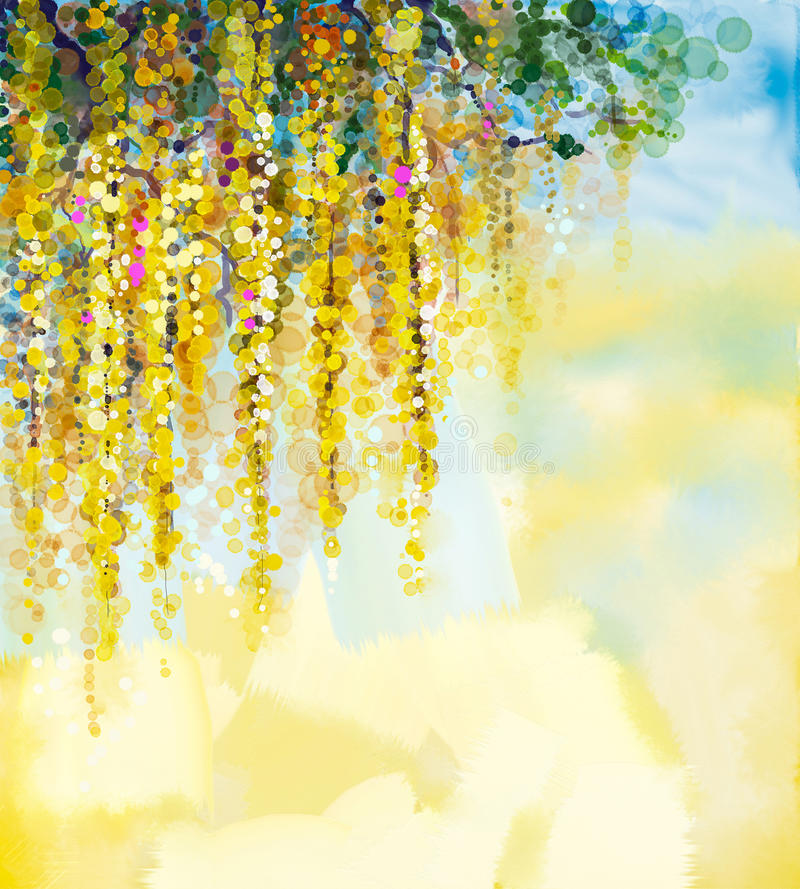 De waterverf van Wisteriabloemen het schilderen