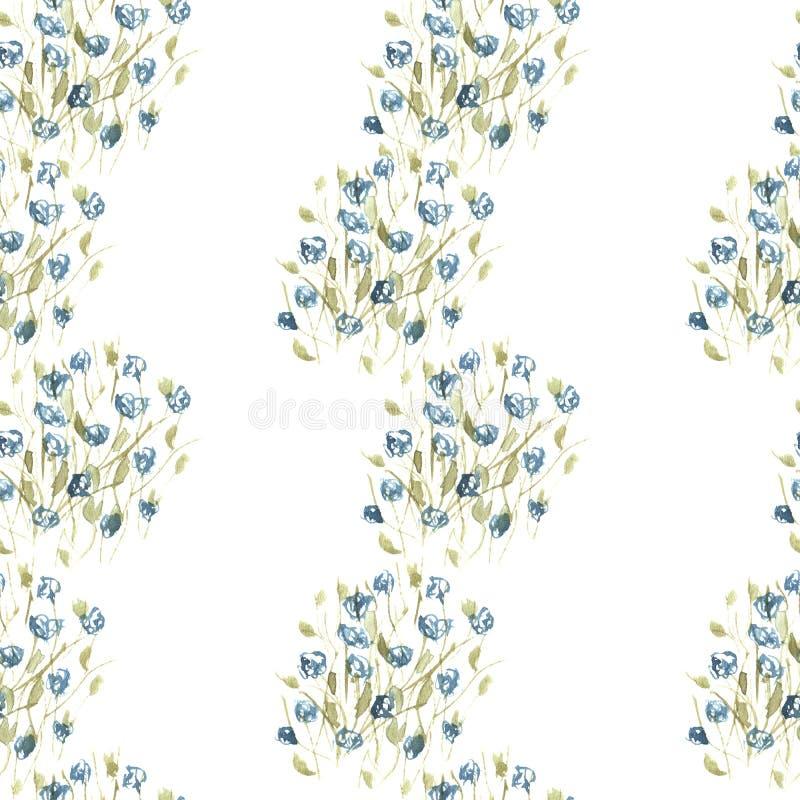 De waterverf verbindt patroon van blauwe wildflowers royalty-vrije illustratie
