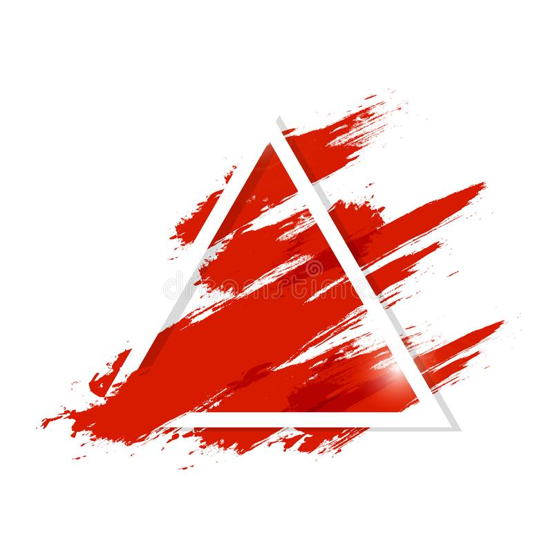 De waterverf, vloeibare rode bloedplons met de driehoekskader van de grungeborstel ploetert inkt artistieke abstracte vectorillus vector illustratie