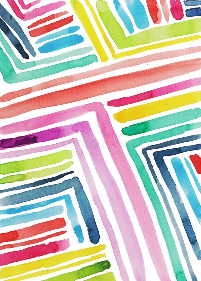 de waterverfachtergrond van de regenboog diagonale strook vector illustratie
