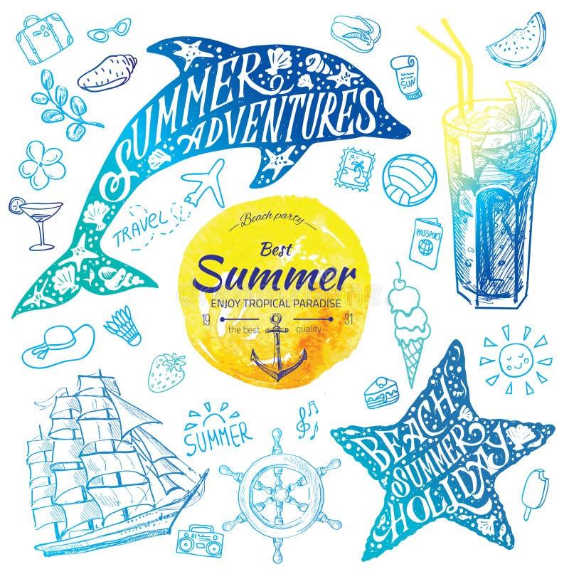 De waterverfbanners van de de zomervakantie met tropische bloemen en de zomergroeten - vectorillustratie royalty-vrije illustratie