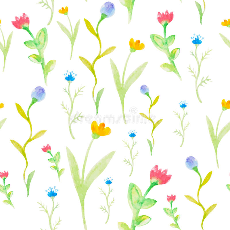 De waterverfbloemen springen naadloos patroon op stock illustratie