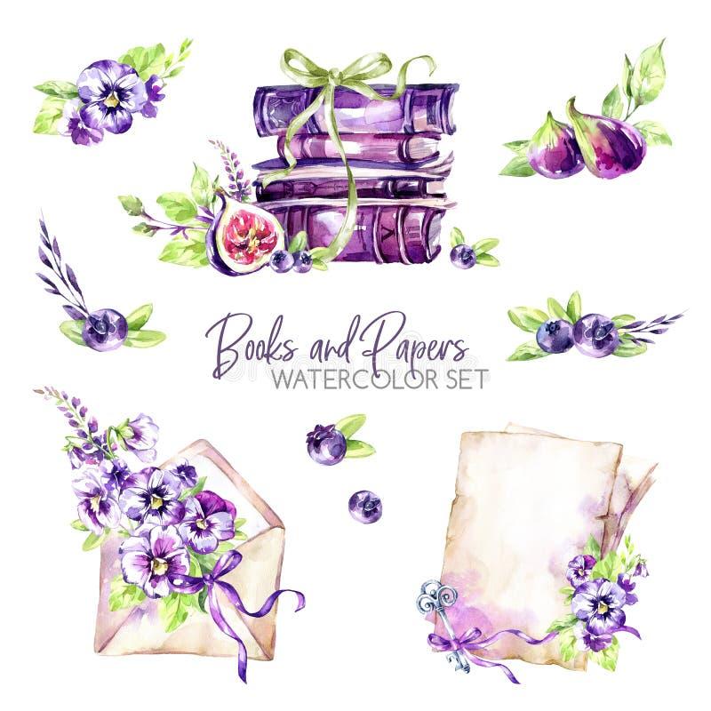 De waterverfgrenzen plaatsen met oude boeken, envelop, document, bloemen, fig. en bessen Originele hand getrokken illustratie bin vector illustratie