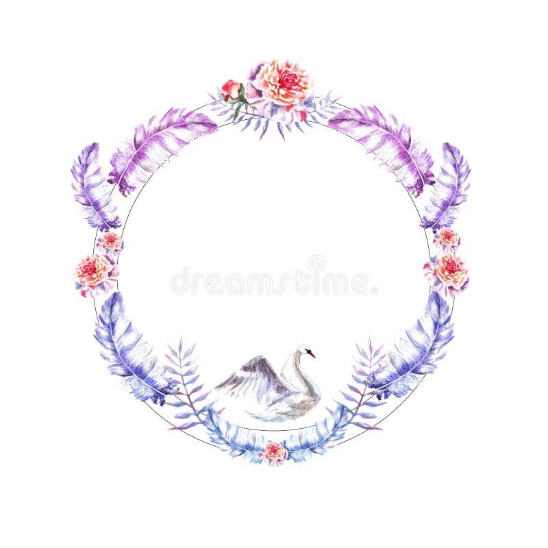 De waterverfhand schilderde cirkelkader van zwaan, veren, pioenen, takjes stock illustratie