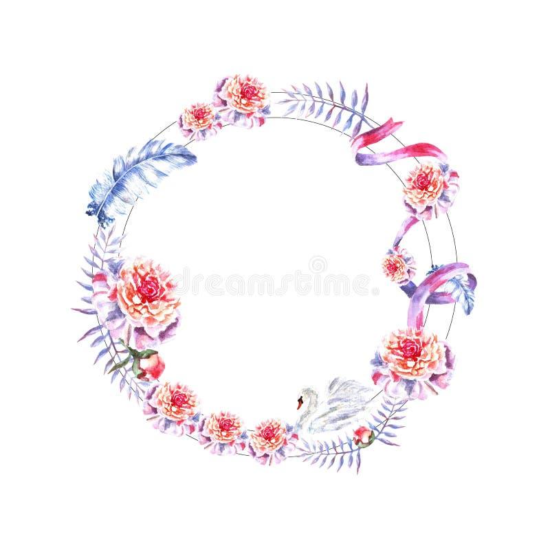 De waterverfhand schilderde cirkelkader van zwaan, veren, pioenen, takjes, lint vector illustratie