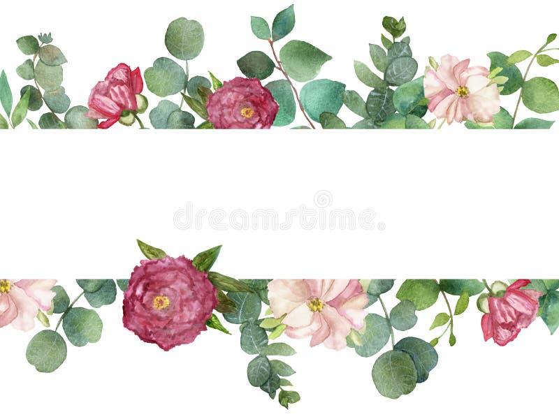 De waterverfhand schilderde het kader van het de zomerboeket met groene eucalyptusbladeren en roze pionbloemen stock illustratie