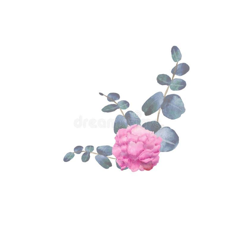 De waterverfhand schilderde kroon met groene eucalyptusbladeren, pioenbloemen en takken vector illustratie