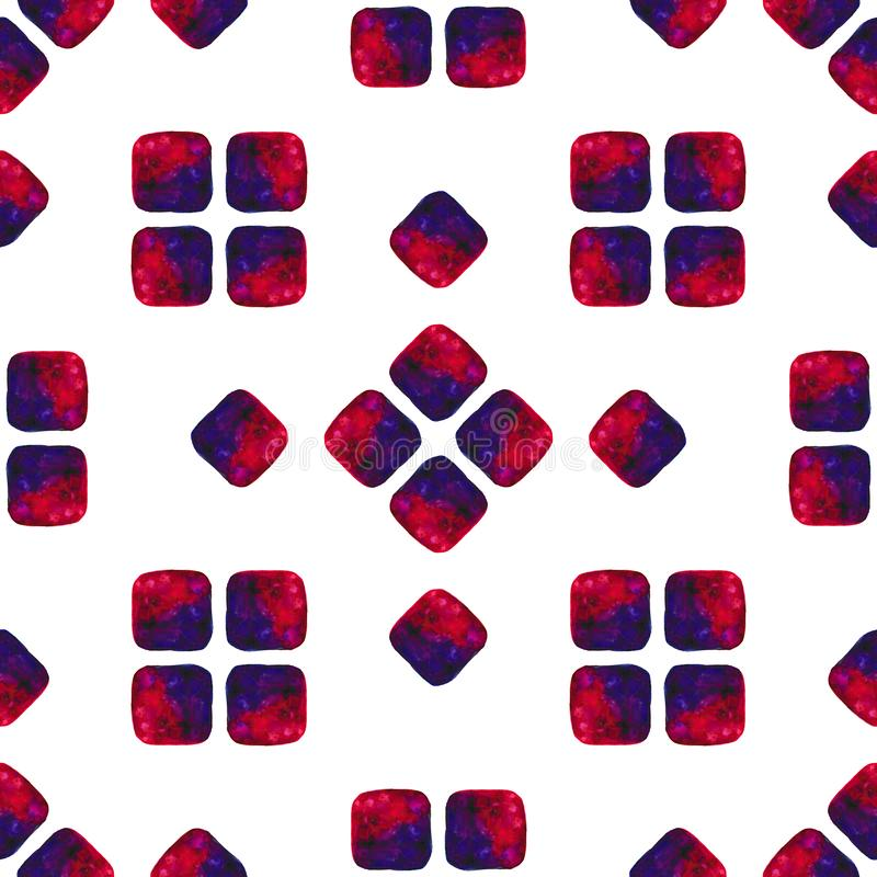 De waterverfhand schilderde naadloos patroon Abstracte vierkantentextuur voor oppervlakteontwerpen, textiel, verpakkend document, vector illustratie