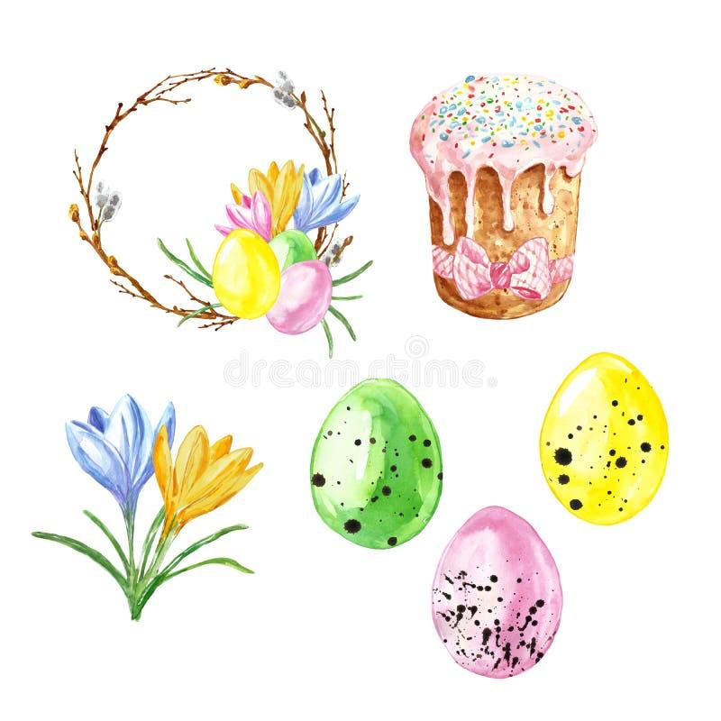 De waterverfhand schilderde Pasen die met gekleurde eieren, Pasen-cake, krokusbloemen en kroon met boomtakken wordt geplaatst, di vector illustratie