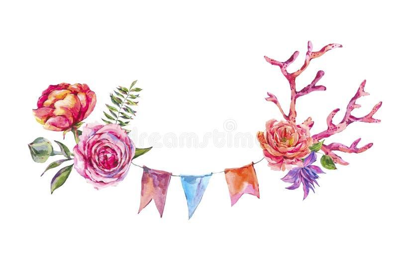 De waterverfhand schilderde roze rozen, rode die koraal en partijslingers op witte achtergrond worden geïsoleerd stock illustratie
