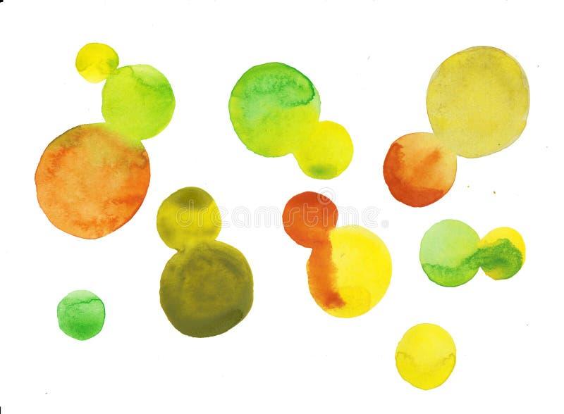 De waterverfhand schilderde van het ontwerpelementen van de cirkelvorm de hoge resolutie makkelijk te gebruiken gele en groene kl stock illustratie