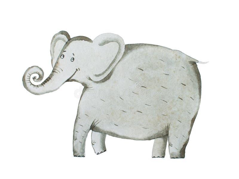 De waterverfhand trekt van olifantsaquarelle illustratie royalty-vrije illustratie