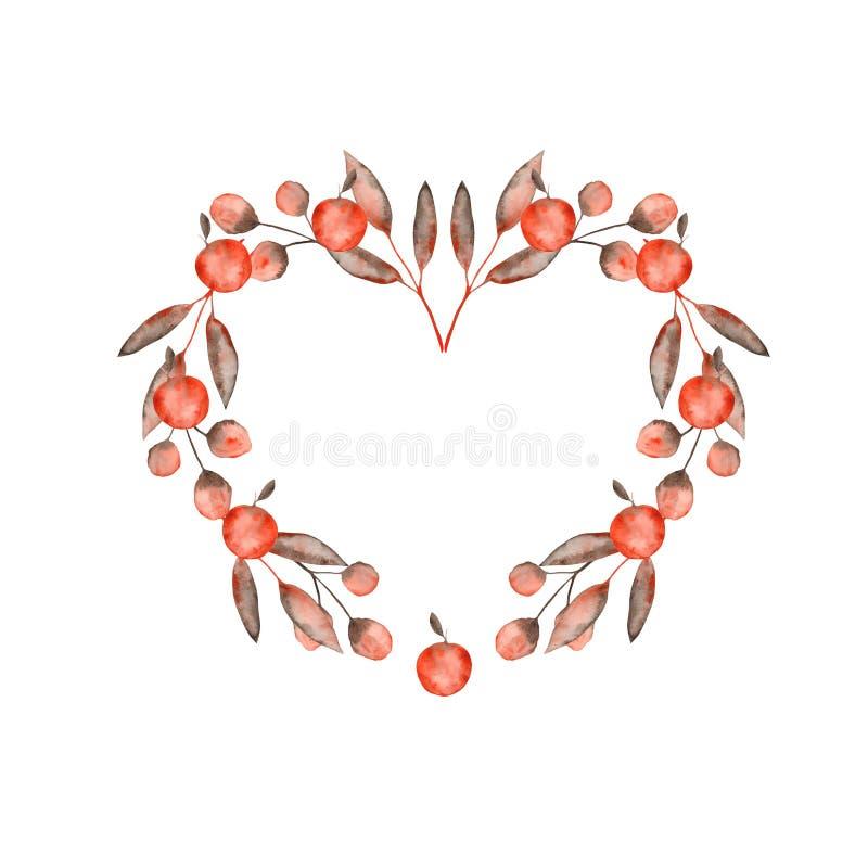 De waterverfherfst met oranje bruine bladeren en takjes, appelen wordt geplaatst die vector illustratie