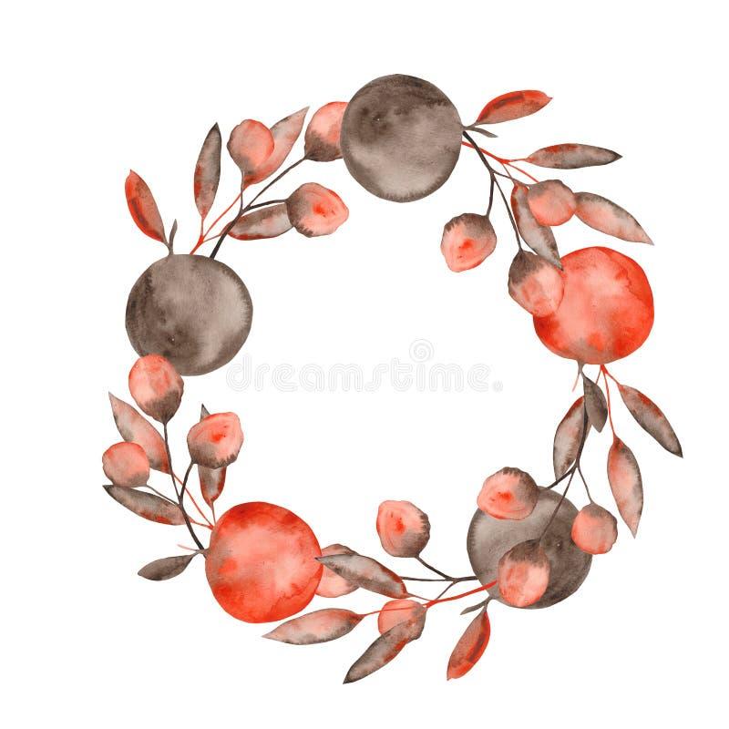 De waterverfherfst met oranje bruine bladeren en takjes, appelen wordt geplaatst die royalty-vrije illustratie