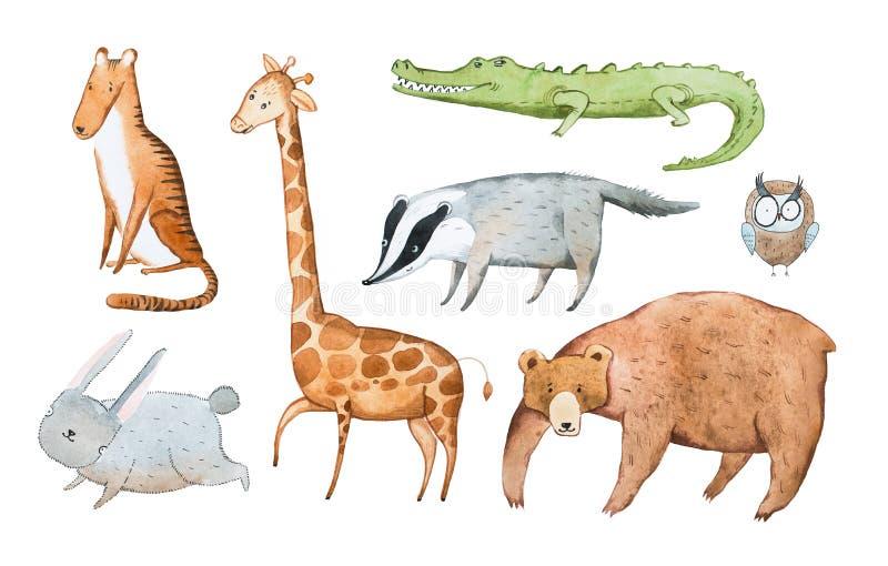 De waterverfillustratie van dieren overhandigt getrokken aquarelle royalty-vrije illustratie