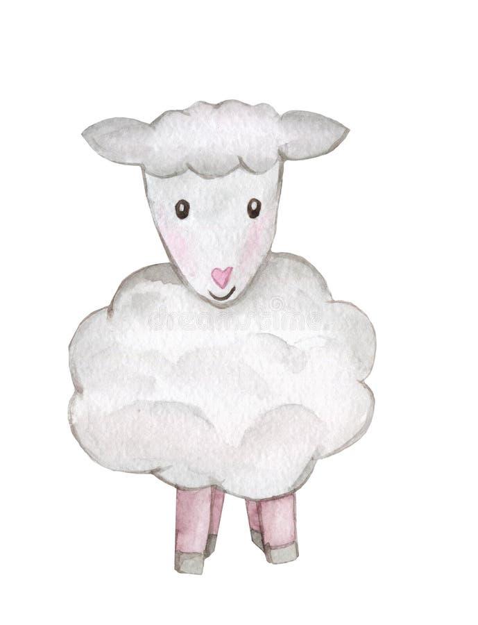 De Waterverfillustratie van lamsschapen De hand getrokken reeks van beeldverhaal jonge schapen die op witte achtergrond wordt geï stock fotografie