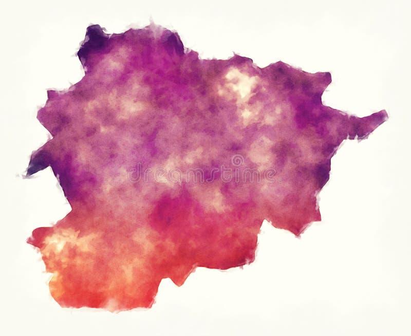 De waterverfkaart van Andorra voor een witte achtergrond vector illustratie