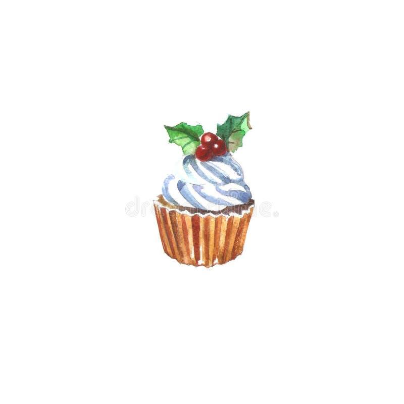 De waterverfkaart van de nieuwjaar` s Cake cupcakes Nieuwjaar ` s en Kerstmis vector illustratie