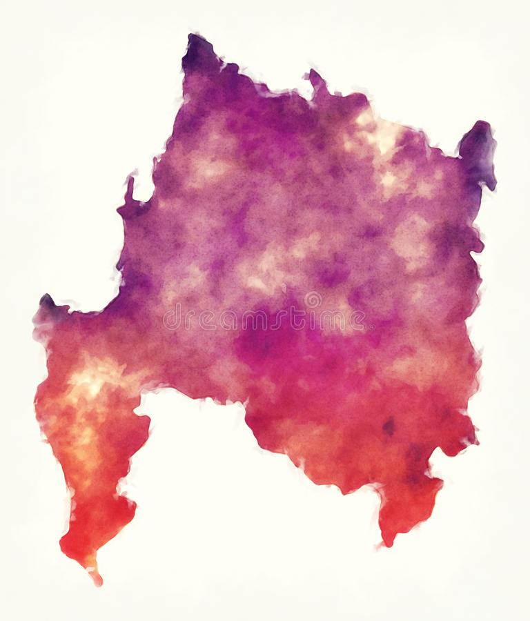 De waterverfkaart van het Biobiogebied van Chili royalty-vrije illustratie