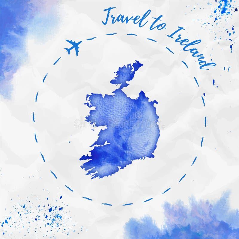 De waterverfkaart van Ierland in blauwe kleuren stock illustratie