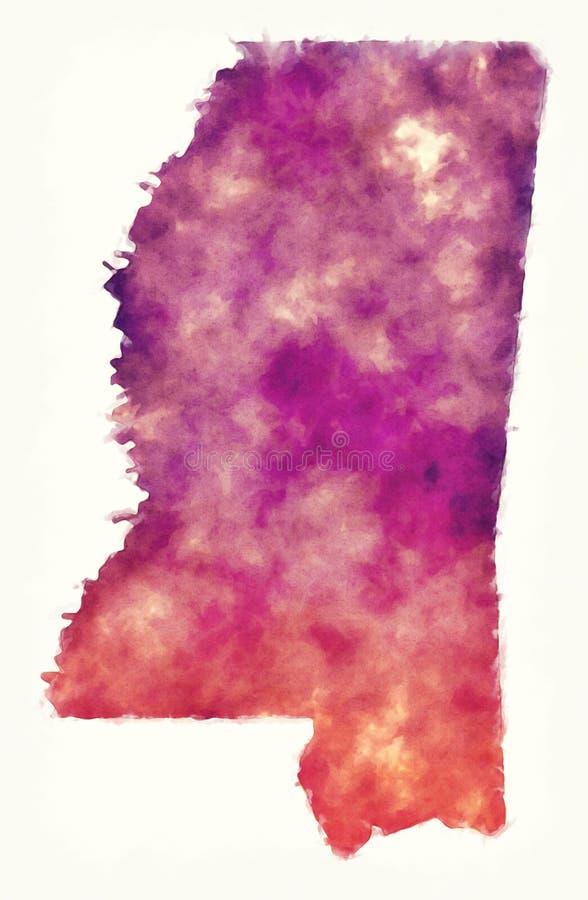 De waterverfkaart van de V.S. van de staat van de Mississippi voor een witte backgro stock illustratie