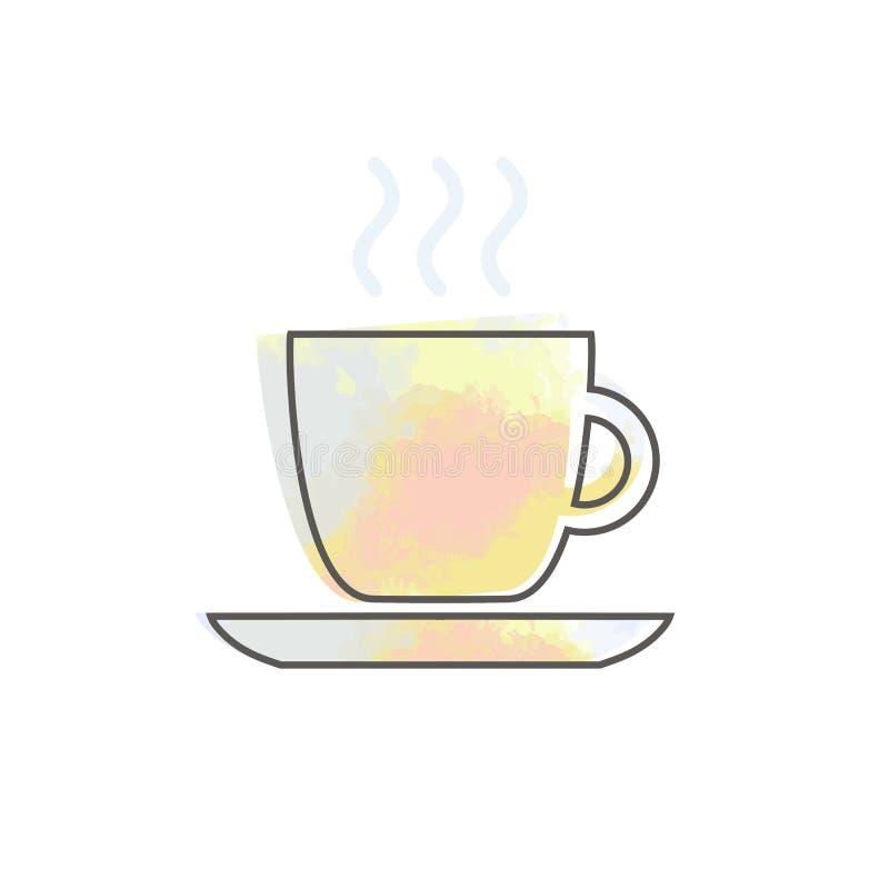 De waterverfkop met het restaurantvoedsel van de koffiekoffie drinkt thee zwarte contour op witte achtergrond stock illustratie