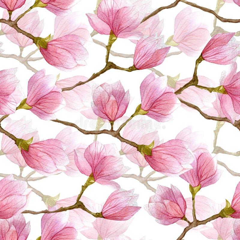 De waterverfmagnolia bloeit naadloos patroon Seizoenhand getrokken illustratie voor textiel, uitnodigingen, groetkaarten, affiche vector illustratie
