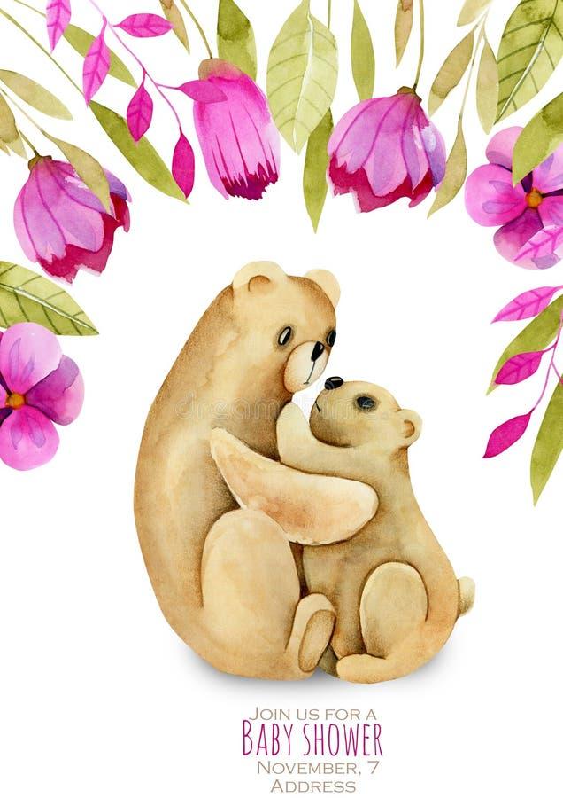 De waterverfmoeder draagt en haar baby, roze bloemen bloemengrens vector illustratie