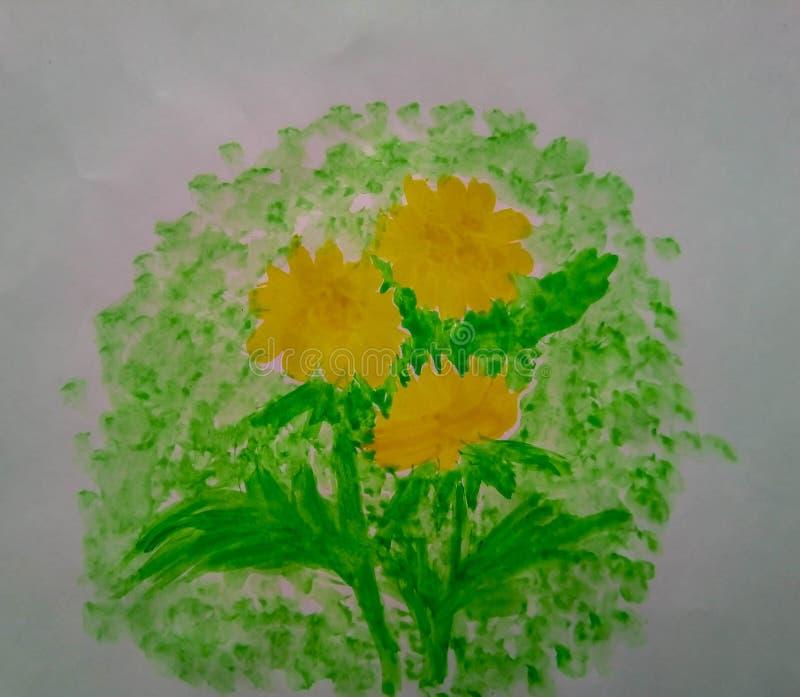 De waterverfpaardebloemen schilderen bloemenaard stock illustratie