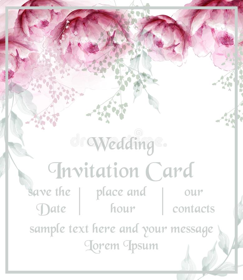 De waterverfpioen bloeit de kaartvector van de kaderbloesem De uitstekende bloemenkaart van de huwelijksuitnodiging De boeketten  royalty-vrije illustratie