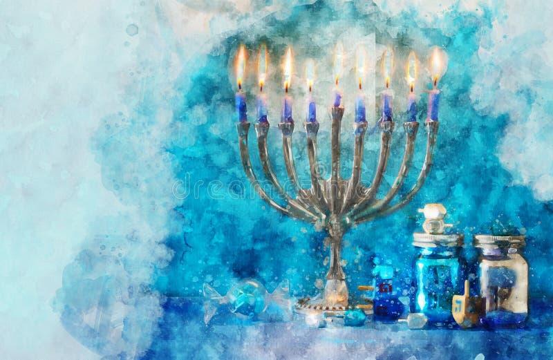de waterverfstijl van de religieuze ob en het abstracte beeld van joodse vakantie Hanukkah met menorah & x28 ; traditionele cande royalty-vrije illustratie