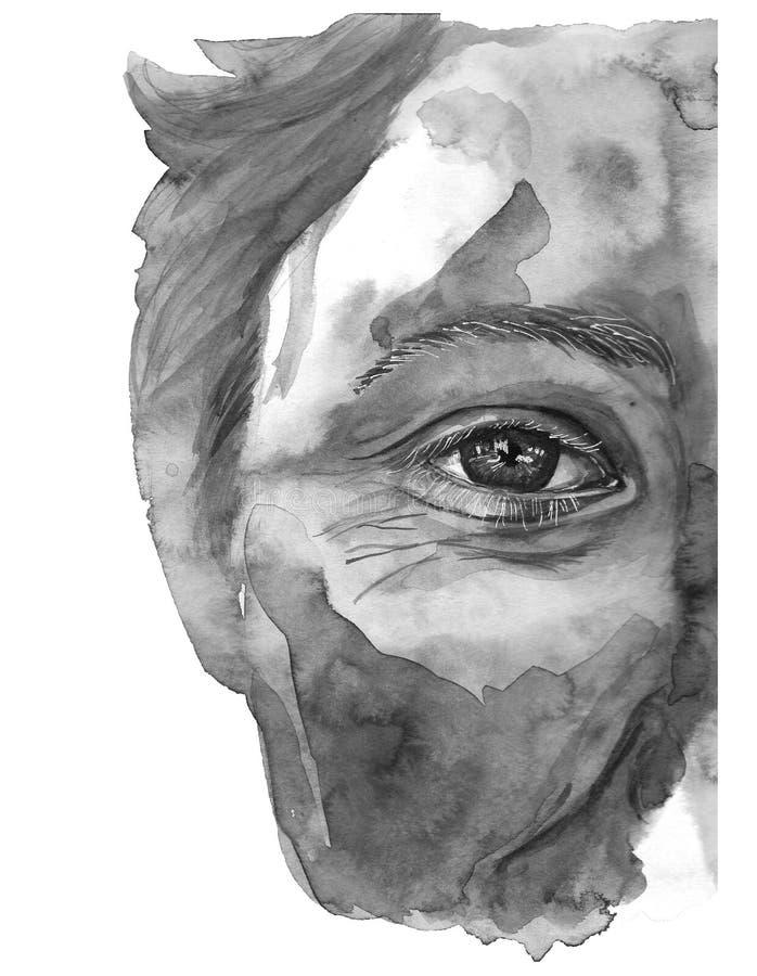 De waterverftekening van een mensen` s hoofd is vuil in verf, multi-colored gezicht, portret, opende oog, glans op iris van het o vector illustratie